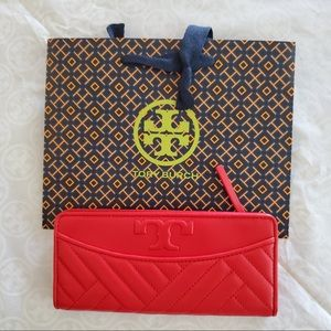 Tory Burch Alexa Slim Envelope Wallet in red